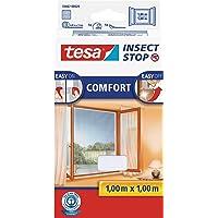 tesa Insect Stop COMFORT Fliegengitter für Fenster/Insektenschutz mit selbstklebendem Klettband in Weiß/100 cm x 100 cm