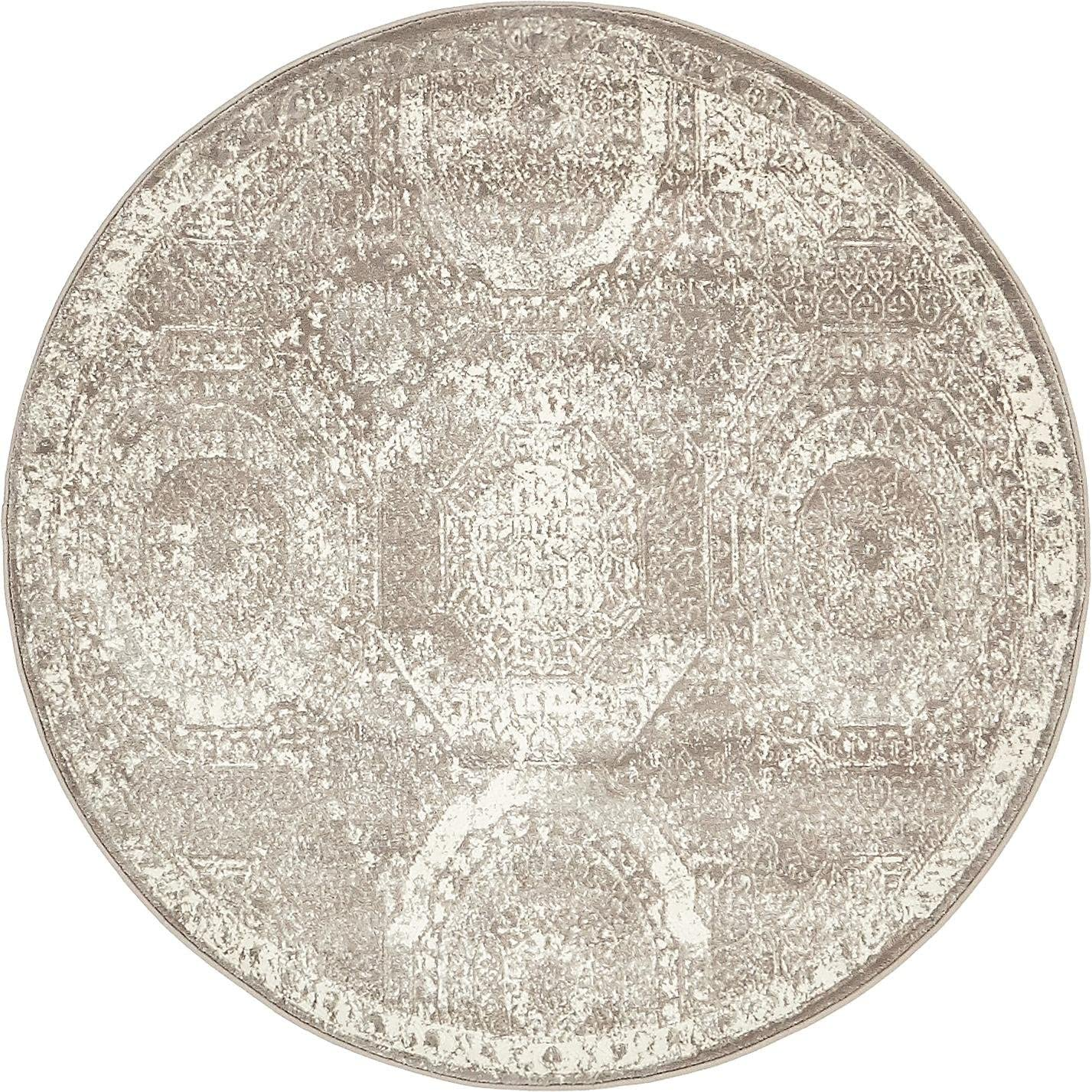 Unique Loom New Classical Collection Traditional Distressed Vintage Classic Gray Round Rug 4 0 x 4 0