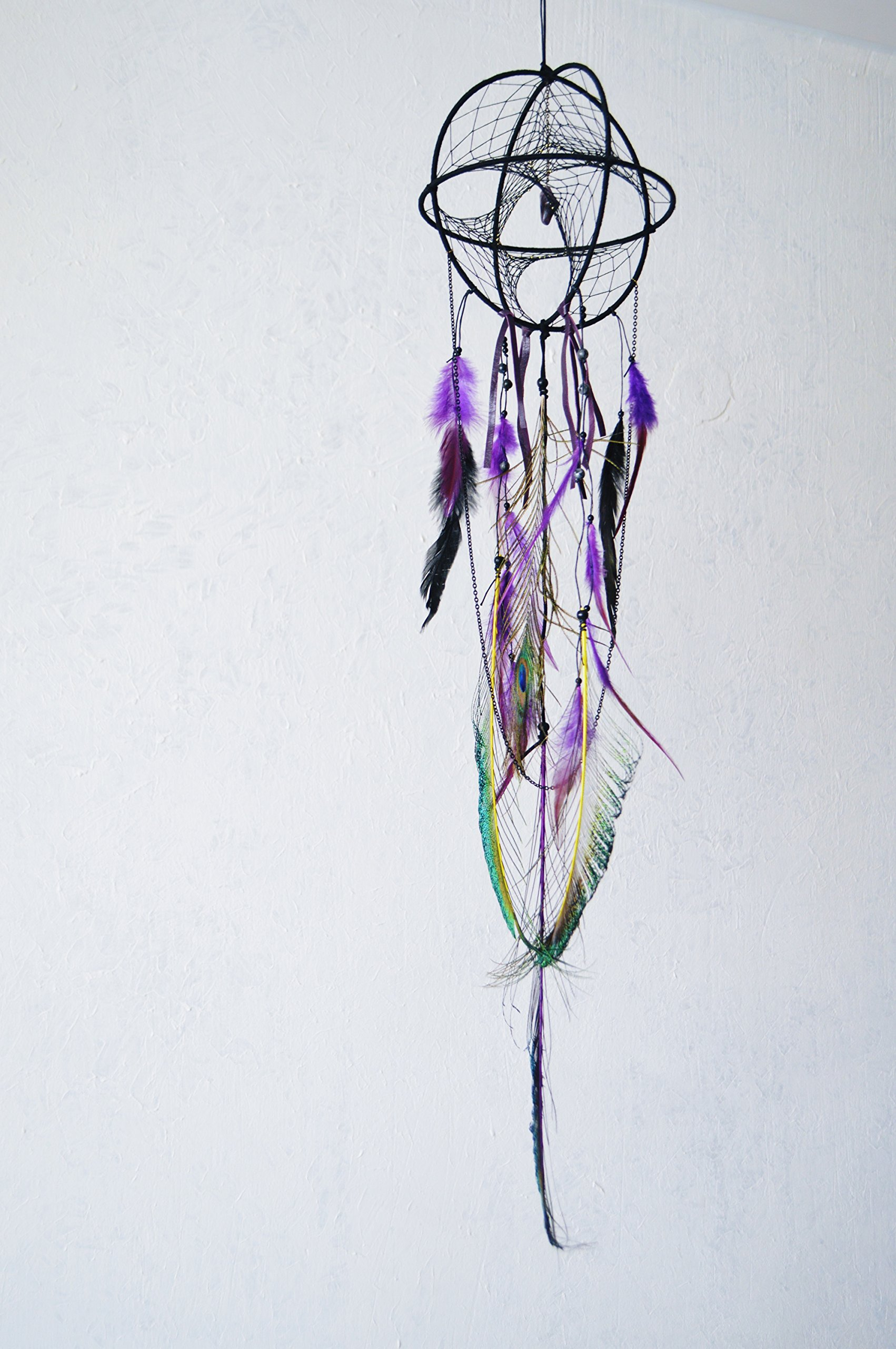 Black Purple Sacred Geometry 3D Dream Catcher Mobile Ceiling Hanging Decoration by Riot of Colors