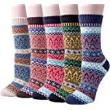 5 Pairs of Thick Knit Warm Winter Casual Crew Socks for Womens