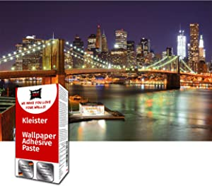 Great Art Photo Wallpaper Brooklyn Bridge at Night Decoration 210x140 cm / 82.7x55in – New York City America USA Big Apple Skyline River Wall Street Mural – 5 Pieces Includes Paste