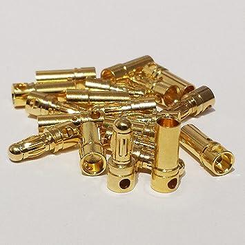 5Paar EC3 Goldstecker 3,5mm Gold Stecker Buchse 2x 10mm Schrumpfschlauch