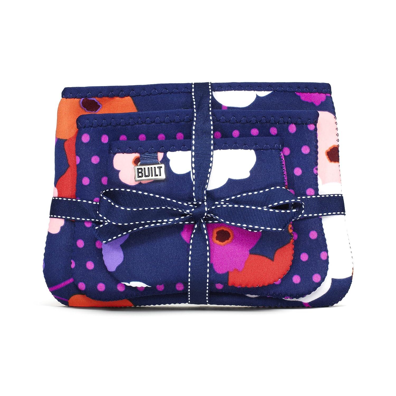Built NY Bryant Park Designer Neoprene Cosmetics Cases 3-Piece Set, Lush Flower Mini Dot Navy