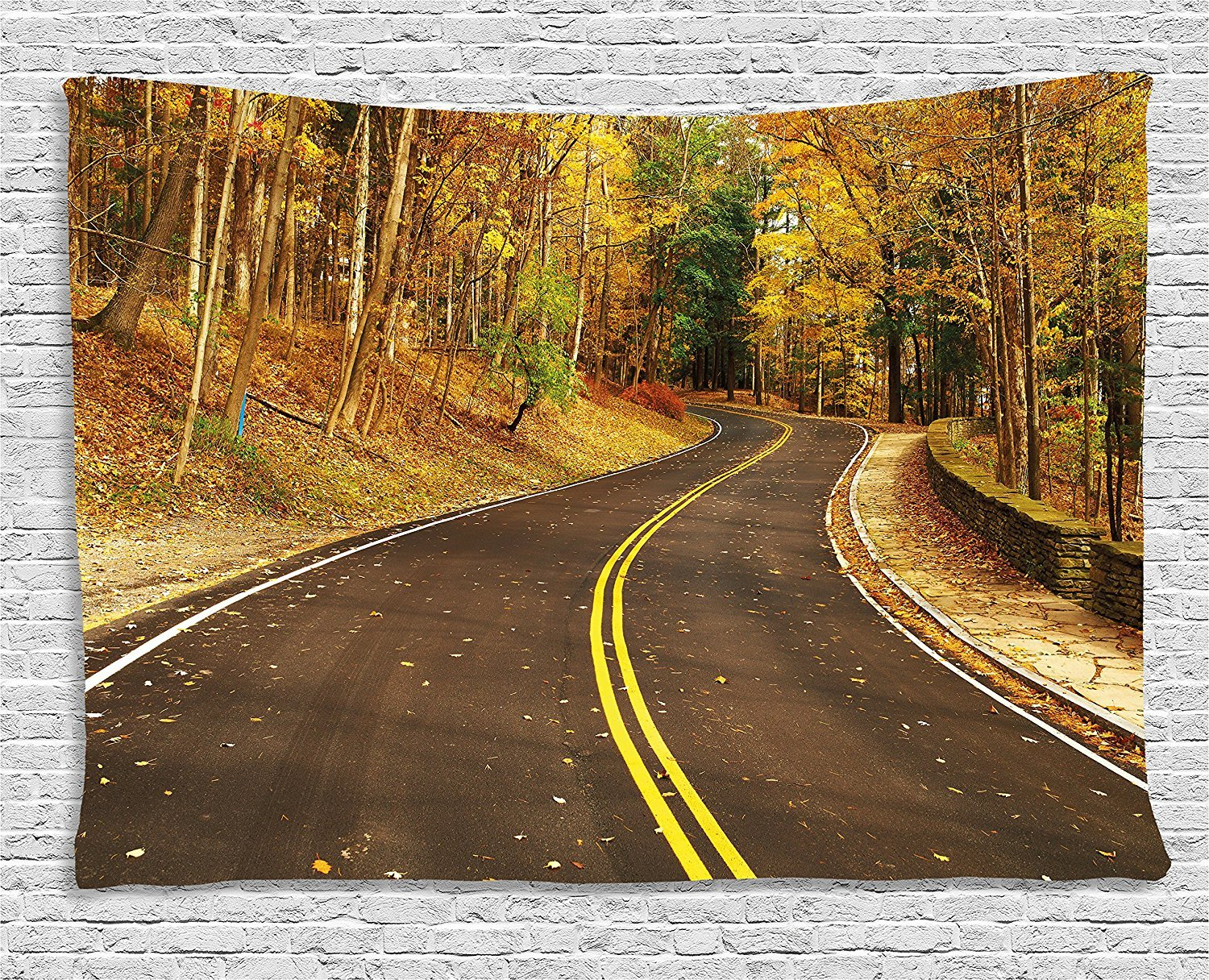 Fall Decor Tapestry, Autumn Scene with Curvy Road in Forest at Letchworth State Park New York USA, Wall Hanging for Bedroom Living Room Dorm, 80 W X 60 L Inches, Multicolor by asddcdfdd
