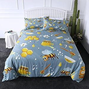 ARIGHTEX Cute Honey Bee Bedding Yellow Honey Pot Bees Honeycomb Print Duvet Cover 3 Pieces Nature Themed Bedspreads (Queen)