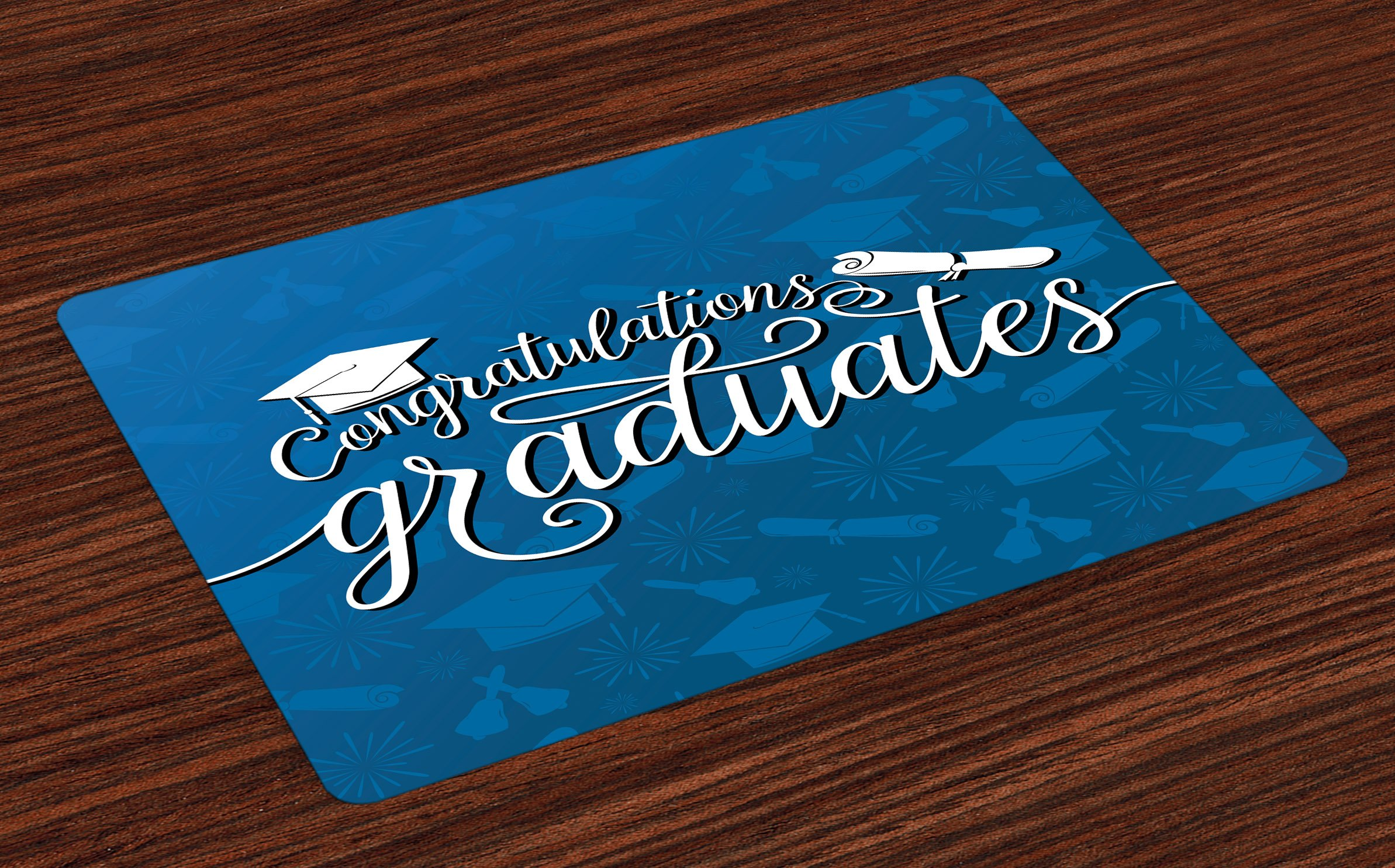 Lunarable Graduation Place Mats Set of 4, College Celebration Ceremony Certificate Diploma Square Academic Cap Print, Washable Fabric Placemats for Dining Room Kitchen Table Decoration, Blue and White