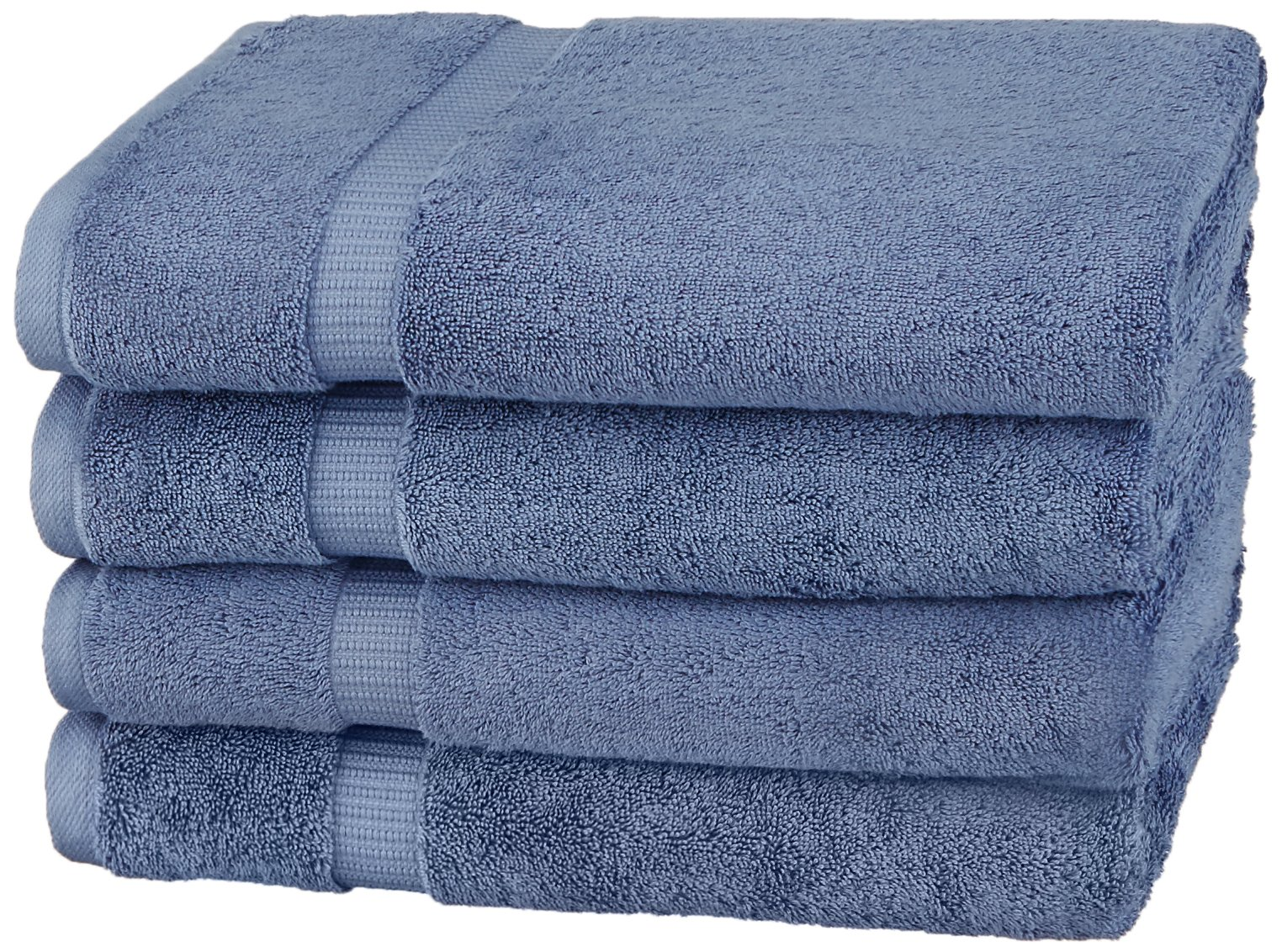 Pinzon by Amazon Collection Pinzon Organic Cotton Bath Towel (4-Pack), Indigo Blue