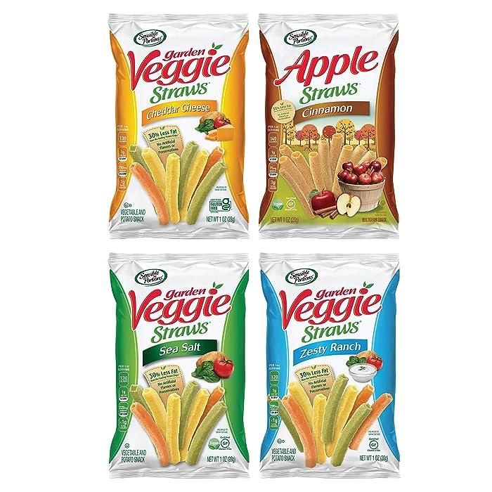 Sensible Portions Veggie Straws Snack Size Variety Pack, Sea Salt, Ranch, Cheddar, Apple Cinnamon, 1 oz, 24 Count