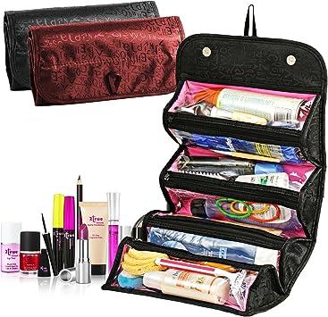 Estuche Maquillaje tren de viaje TRAVELMALL maquillaje cosméticos organizador caso portátil artista bolsa de almacenamiento con divisores ajustables para cosméticos pinceles de maquillaje Toiletry joyería Digital accesorios negro: Amazon.es: Belleza