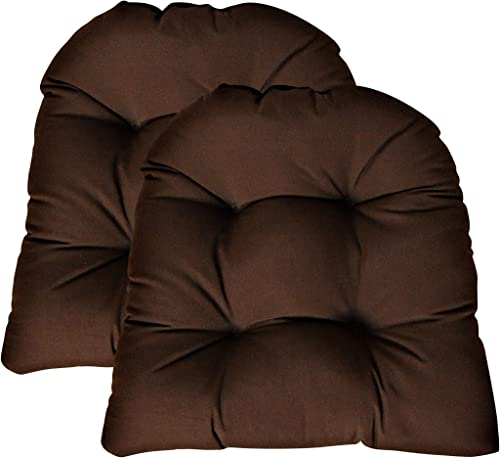 RSH DECOR Sunbrella Canvas Bay Brown Large 2 Piece Wicker Chair Cushion Set – Indoor Outdoor Tufted Wicker Matching Chair Seat Cushions