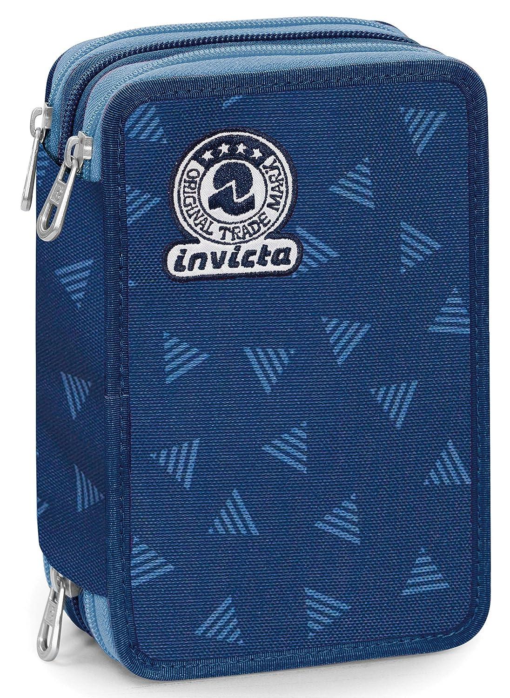 Astuccio 3 Zip Invicta Triangle Con materiale scolastico: 18 pennarelli Giotto Turbo Color 18 matite Giotto Laccato/… Blu