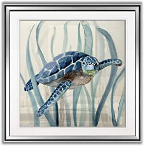 Renditions Gallery Turtle in Seagrass I Coastal Decor Painting Nursery Artwork Kids Giclee Canvas Prints Sea Animal Wall Art Framed, 16 x 16, Silver