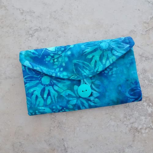 78088033a8bc Travel Jewelry Organizer - Turquoise Batik Fabric Jewelry Wallet