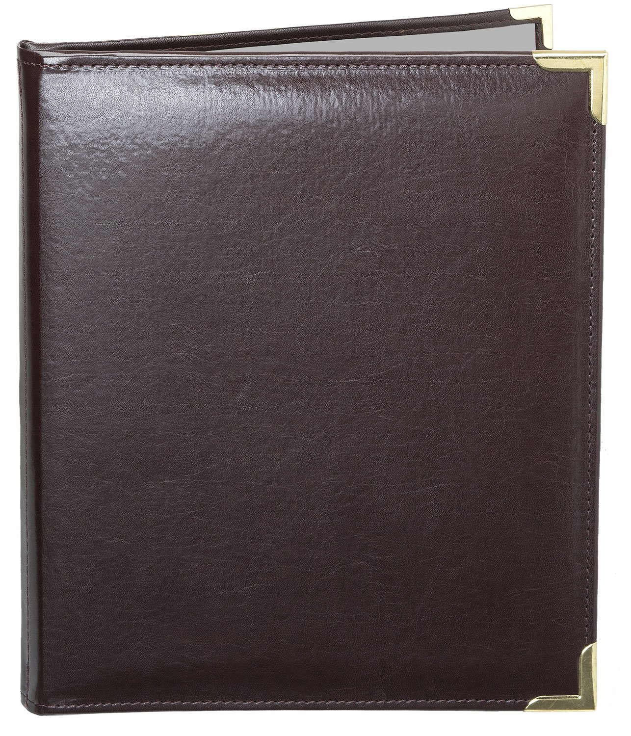MenuCoverMan • Case of 5 Menu Covers • Allante #7002 BROWN DOUBLE PANEL - 2-VIEW - 8.5'' W x 11'' H - STITCHED-Elegant Gold metal corners. See all covers: type MenuCoverMan in Amazon search.