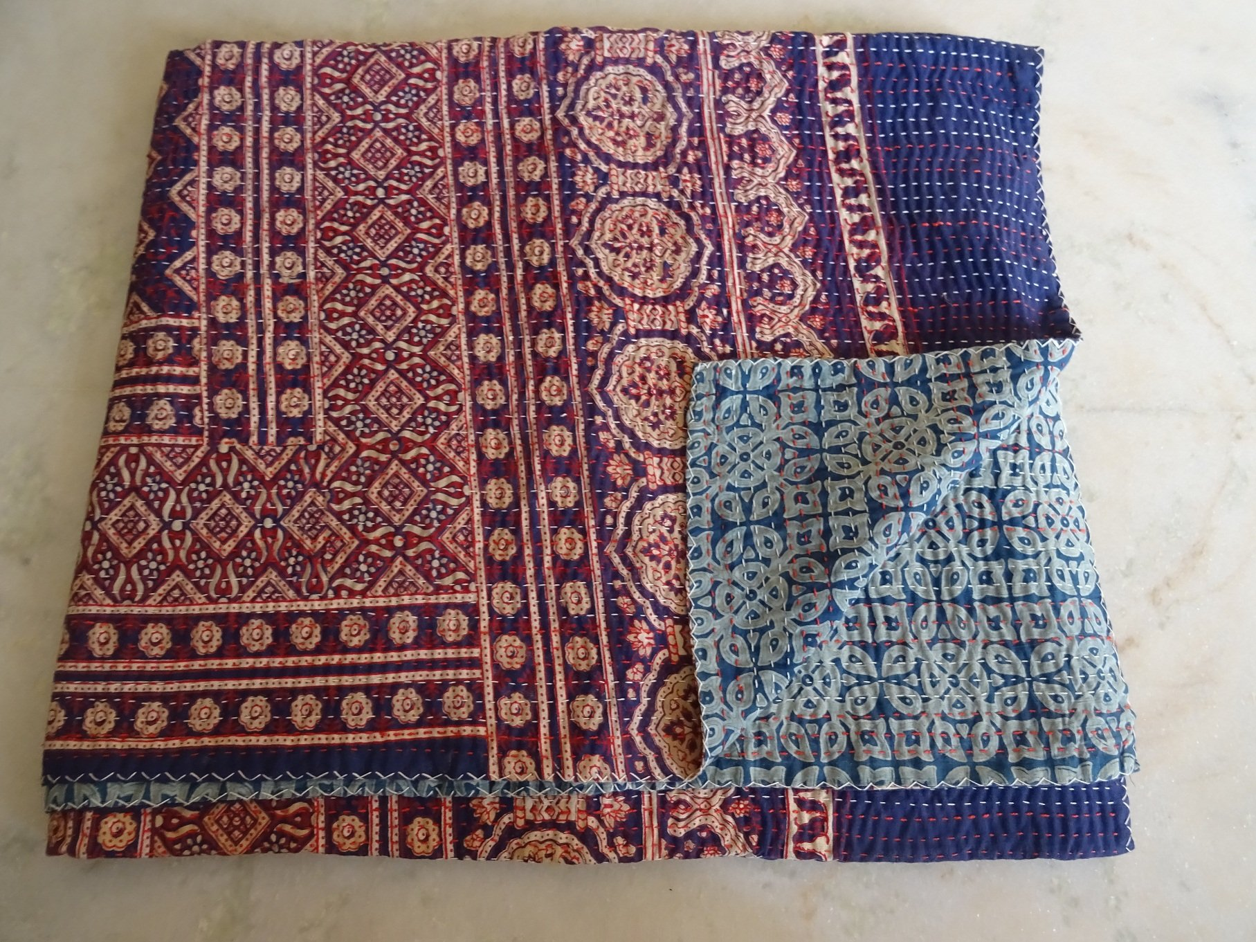 Indian Queen Size Traditional Home Deco Kantha Ajrakh Quilt, Handmade Kantha Print Ajrakh Throw Blanket