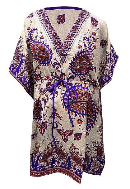 PEEGLI Caftano Indiano da Donna Notte Vestito con Scollo A V Paisley  Stampato in Poliestere Caftano  Amazon.it  Abbigliamento f2ed9d8ac75b