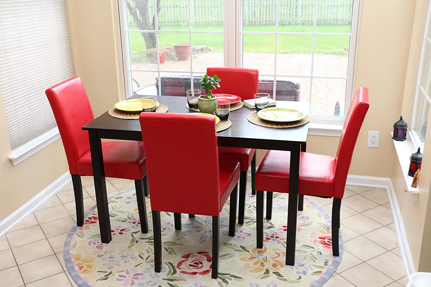 B red kitchen chairs Amazon com 5 PC Red Leather 4 Person Table and Chairs red Dining Dinette Red Parson Chair Table Chair Sets