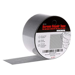 """by.RHO 2""""x105"""" Screen Repair Kit. 3-layer Strong Adhesive & Waterproof Ideal for Covering up Holes and Tears Instantly. Screen Repair Tape for Window and Door Screen. Fiberglass Cloth Mesh."""