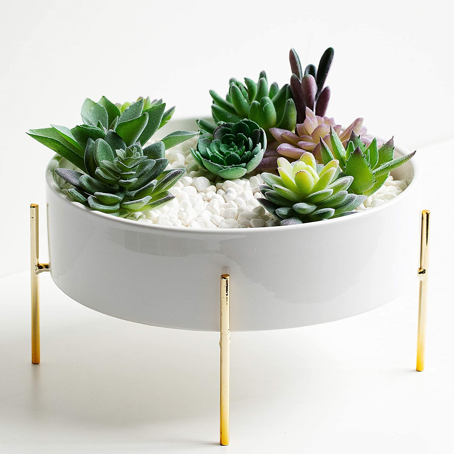 Kimisty 10 Inch Large Round Succulent Planter Bowl with Gold Metal Plant Stand, White Ceramic Pot with Drainage, Succulent Garden Shallow Pot, Centerpiece Tabletop, Includes Decorative Pebbles