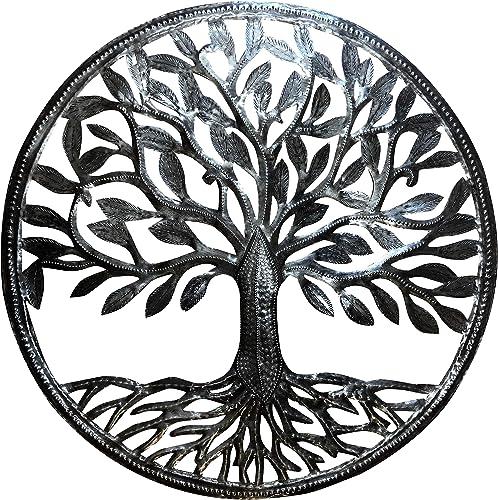 Old Duga – Haitian Metal Drum Art – 24 inch Organic Tree of Life – Natural