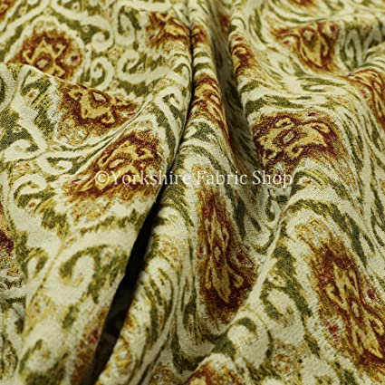 All Over Detailed Damask Heavyweight Soft Chenille In Brown Upholstery Fabric Sold By The 1 Metre Length Fabric