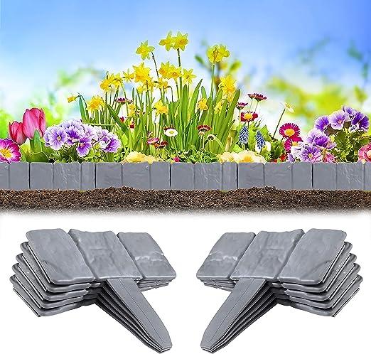 Heveer Borde de Jardín Efecto de Piedra Bordes de Plástico para Jardín Separa Césped del Jardín y Parterres 10 Unidades Gris: Amazon.es: Jardín
