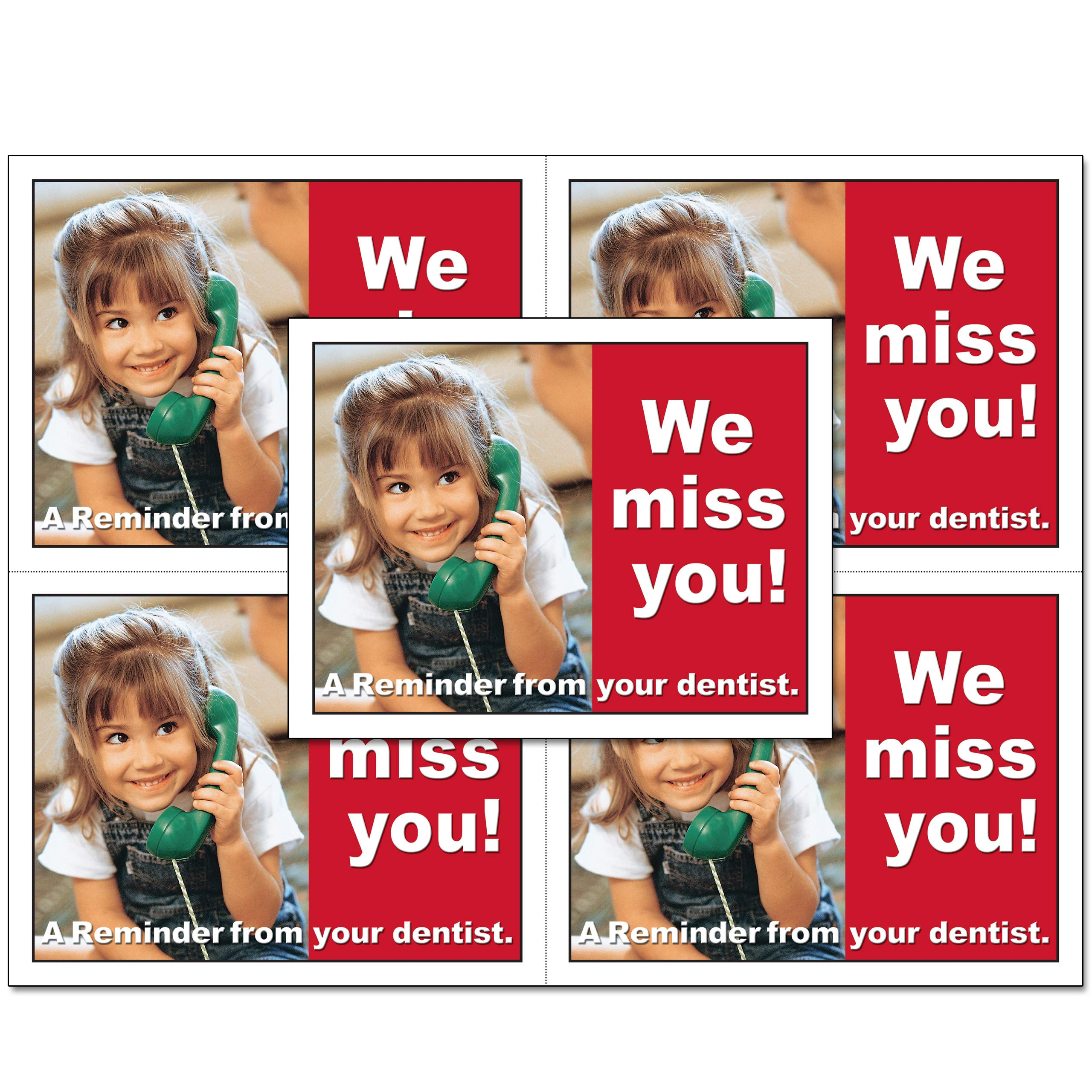 Laser Reminder Postcards, Dental Appointment Reminder Postcards. 4 Cards Perforated for Tear-Off at 4.25'' x 5.5'' on an 8.5'' x 11'' Sheet of 8 Pt Card Stock. DEN103-LZS (500)