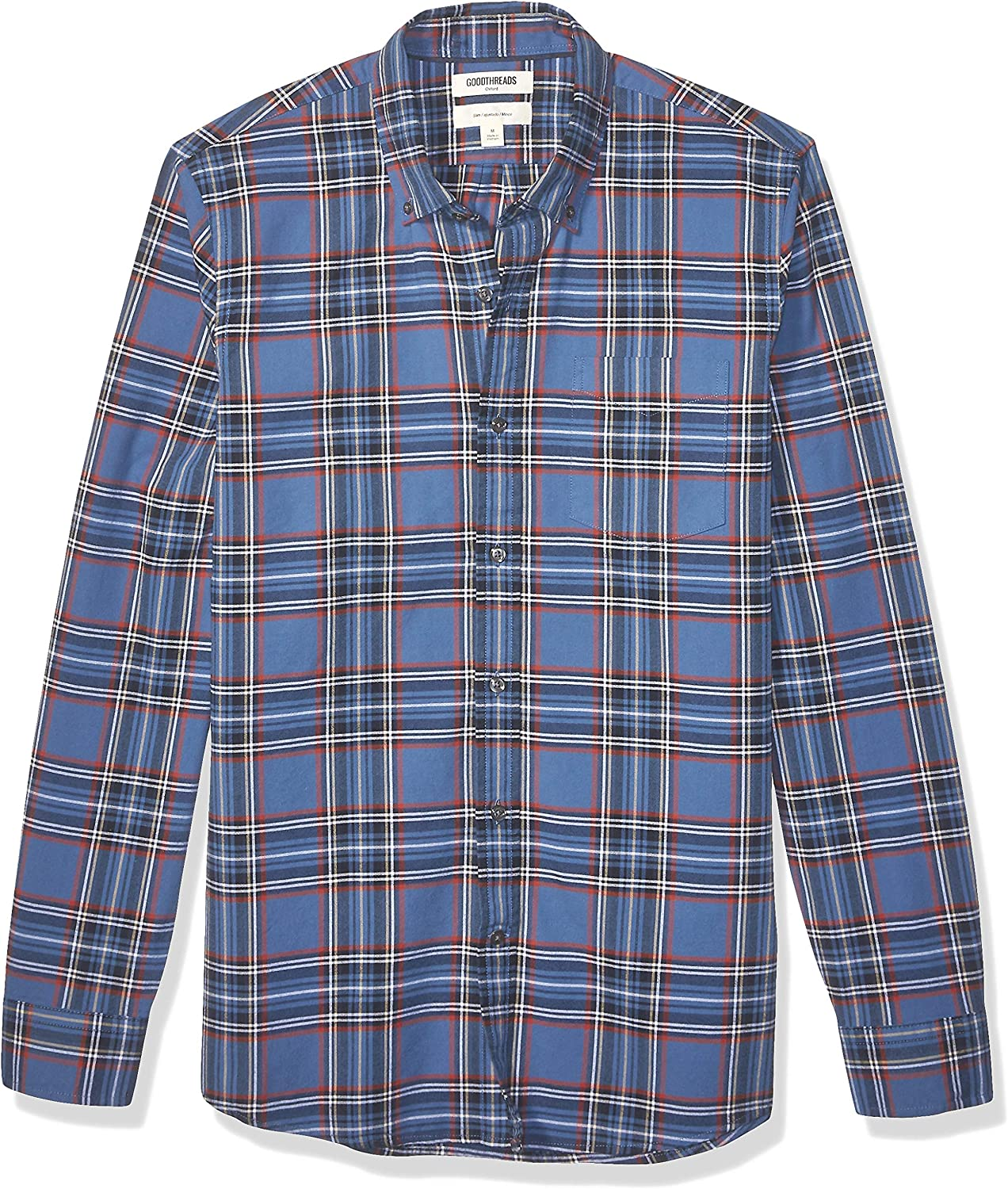 Amazon Brand - Goodthreads Men's Slim-Fit Long-Sleeve Plaid Oxford Shirt