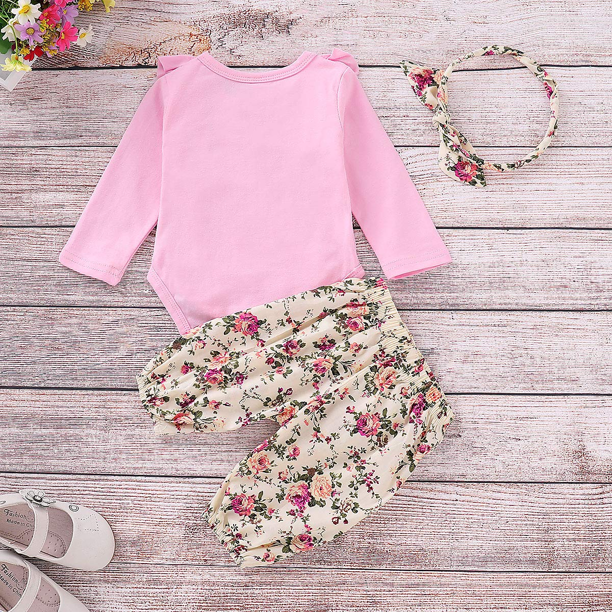 33037449bb5 Amazon.com  Newborn Girl Clothes 3Pcs Girls Baby Outfit Pink Ruffle Long  Sleeve Rompers Tops + Yellow Floral Big Bow Long Pant Sets + Yellow Floral  Headband ...