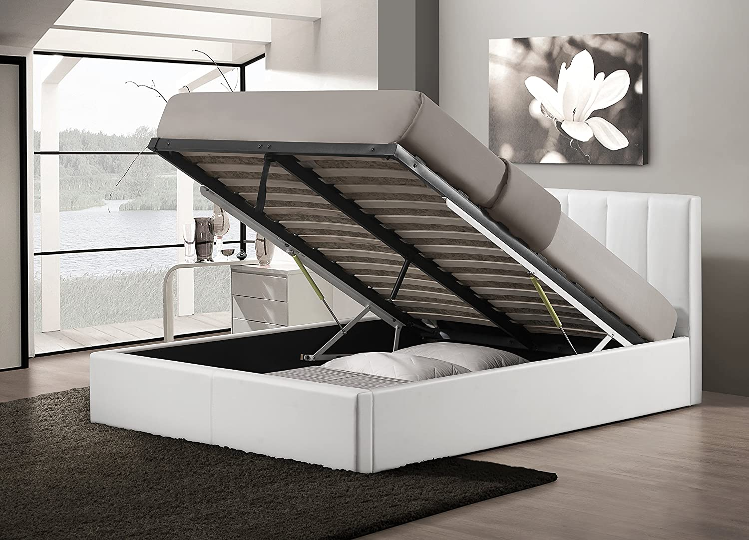 Amazon.com Baxton Studio Templemore White Leather Contemporary Bed Queen Kitchen u0026 Dining & Amazon.com: Baxton Studio Templemore White Leather Contemporary Bed ...