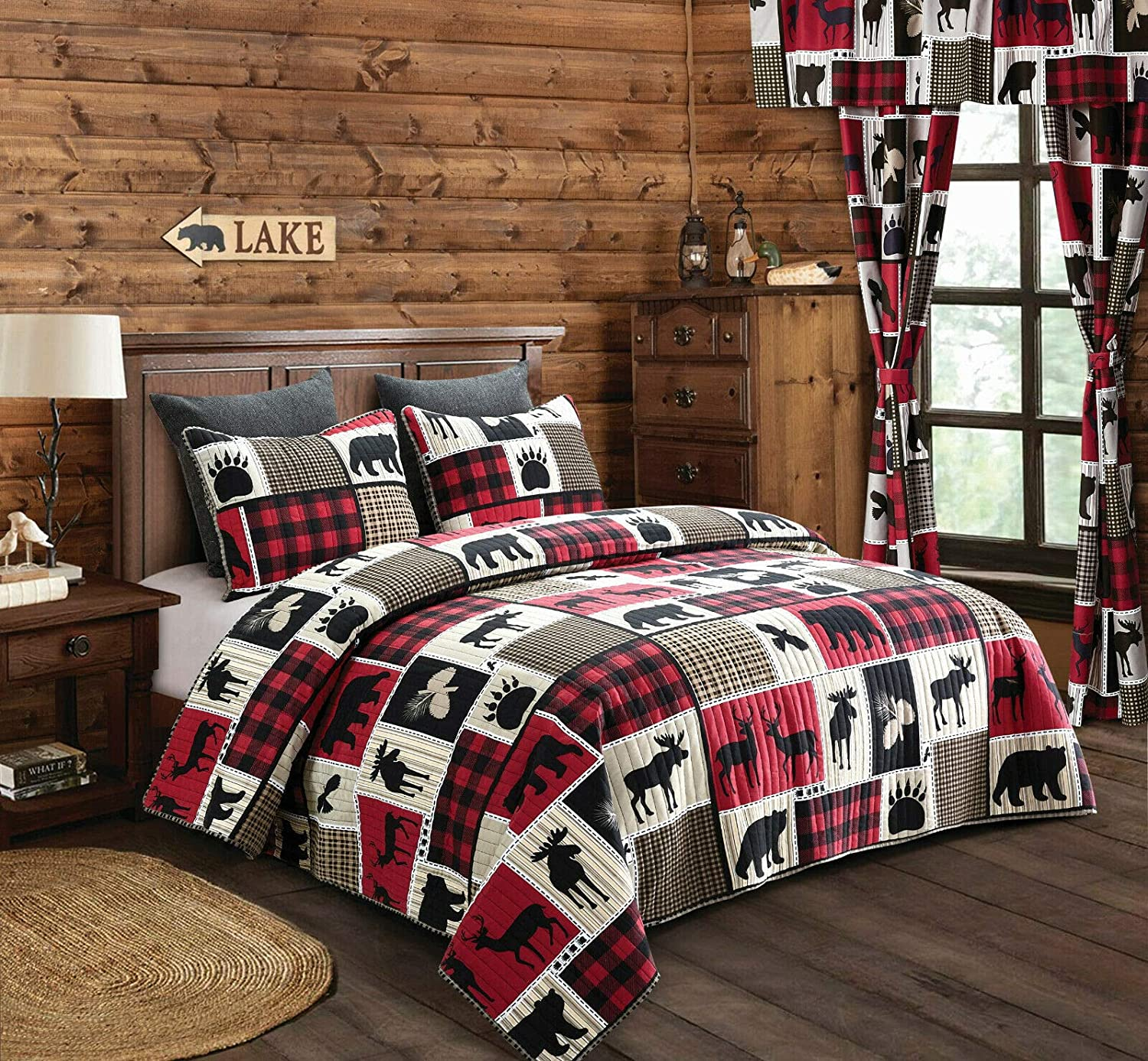 Virah Bella Lodge Life 2pc Twin Quilt Set, Black Bear Paw Moose Cabin Red Buffalo Check Plaid