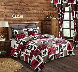 Virah Bella Lodge Life 2pc Twin Quilt Set, Black Bear Paw Moose Cabin Red Buffalo Check Plaid