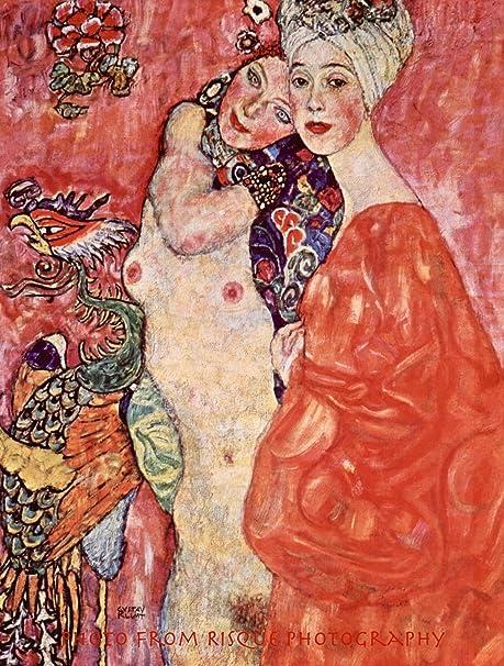 "Nude Two Women Friends 8.5x11/"" Photo Print Painting Gustav Klimt Naked  Fine Art"