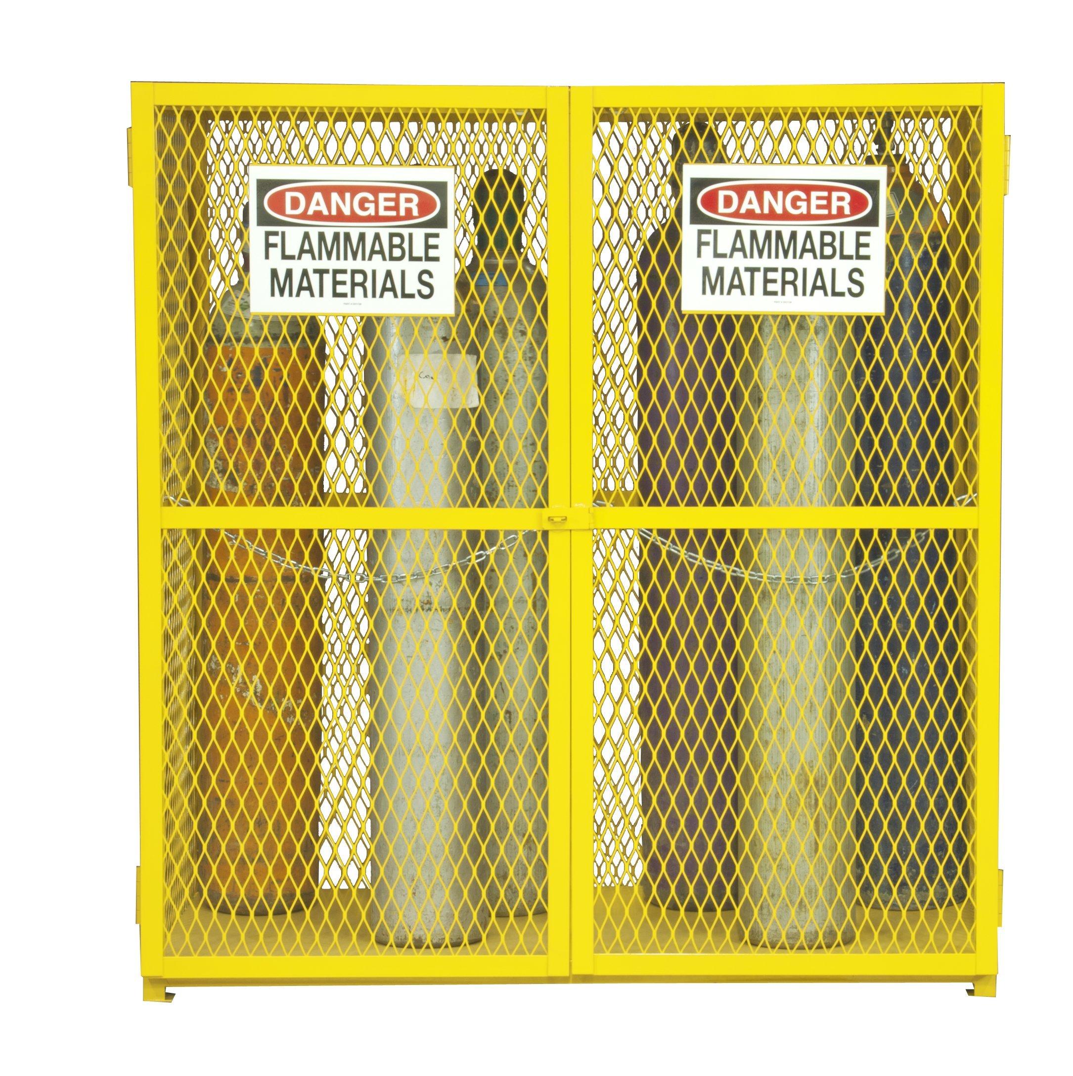Durham Steel/Iron Vertical Cylinder Storage Cabinet, EGCVC18-50, 18 Cylinder Capacity, 30'' Length x 60'' Width x 71-3/4'' Height, Yellow Powder Coat Finish