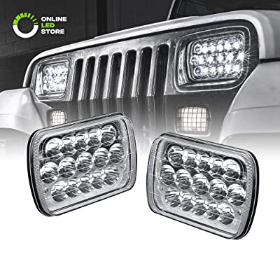 7x6 5x7 LED Headlights H6054 H5054 [45W] [H4 Plug & Play] [Low/High Beam: 60%/100%] - H6054LL 69822 6052 6053 Head Light for Jeep Wrangler YJ Cherokee XJ: Automotive