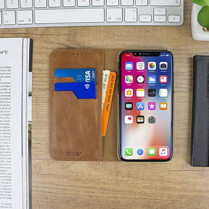 Olixar iPhone X Genuine Leather Wallet Case Executive - With Card Slots and  Media Viewing Stand - Wireless Charging Compatible (Tan)