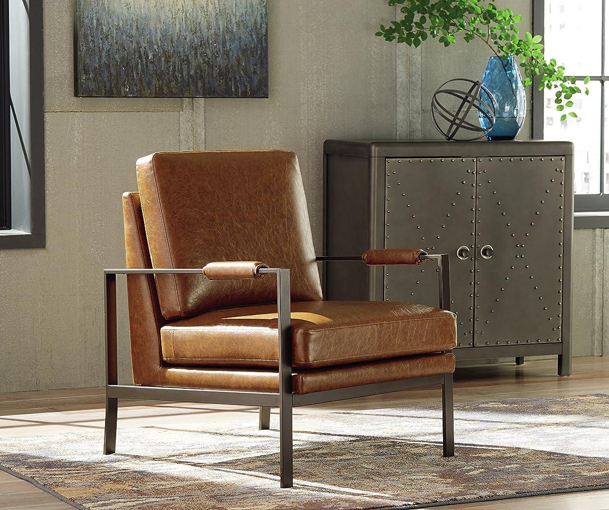 Ashley Furniture Signature Design - Peacemaker Accent Chair - Mid Century Modern - Brown - Antique Brass Legs