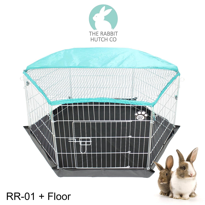 Rabbit Run 6-Sided With Heavy Duty PVC Floor Pen Guinea Pig Playpen ...