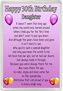 Happy 30th Birthday Daughter Poem Jumbo Fridge Magnet Ideal Keepsake Gift