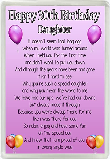 Happy 30th Birthday Daughter Poem Jumbo Fridge Magnet Ideal Birthday  Keepsake Gift M14