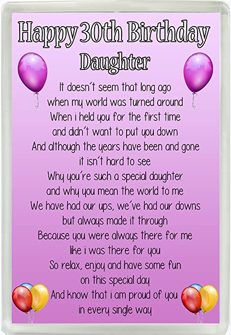 Happy 30th Birthday Daughter Poem Jumbo Fridge Magnet Ideal Keepsake Gift M14