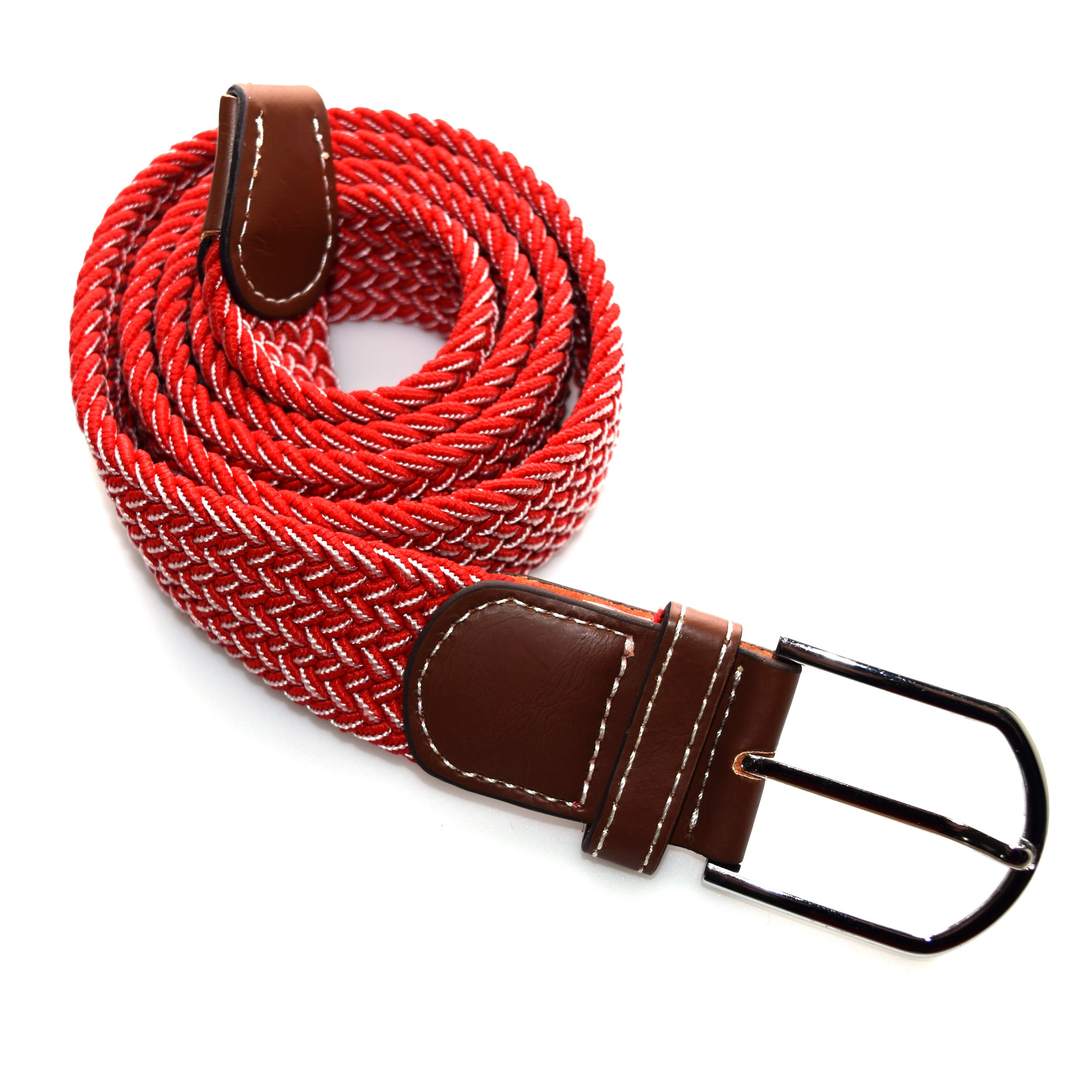 Wits + Beaux Men's Elastic Fabric Woven Braided Stretch Belt (Adjustable Fit) Fun, Colorful Golf Casual Wear (Red White Interlace)