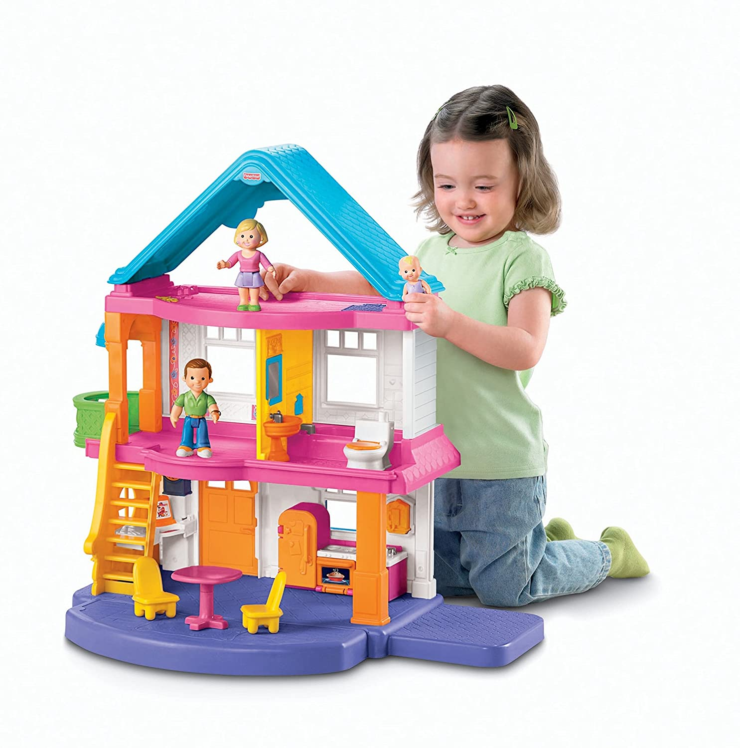 Loving Family Kitchen Furniture Amazoncom Fisher Price My First Dollhouse Toys Games