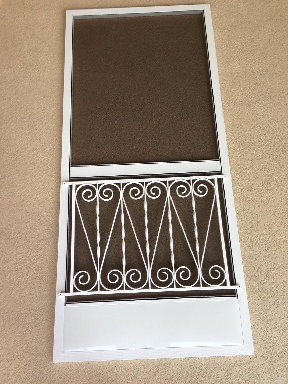 Vintage Inspired Screen Door Grille, Screen Door Pet Guard, (White on