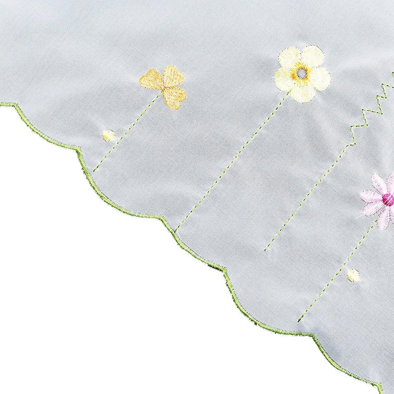1Pc Rideau Voilage Brise-bise avec Broderie Rideaux Courts D/écoration de Fen/être Cuisine//Salle de Bain//Caf/é LxH 90x45cm, Style 018