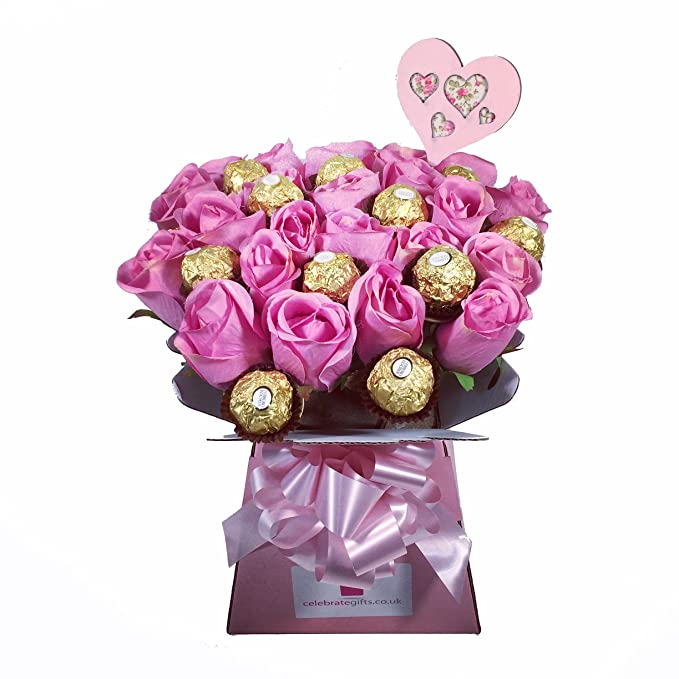 Luxury Silk Pink Roses and Ferrero Rocher Chocolate Bouquet: Amazon ...