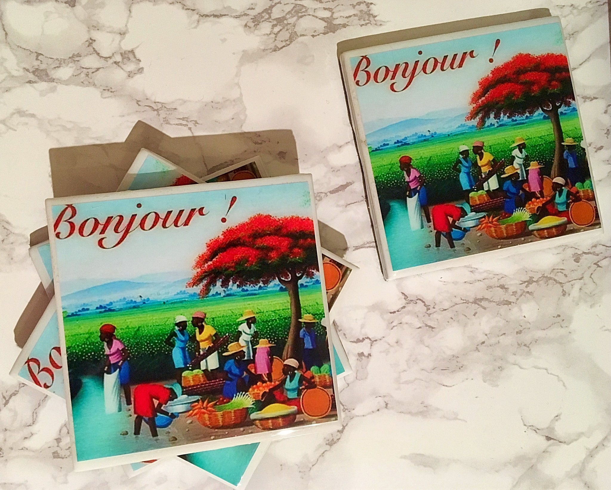 Bonjour! Good Morning Coasters Set of 4 - Everyday Decor, Housewarming Gifts, Gift for Hostess, Birthday Gift, Coffee Tea Drinker, Wine Coasters, Dining Coasters, Table Art, Caribbean Decor