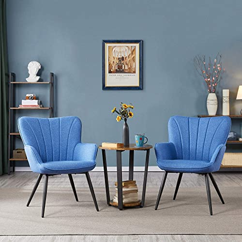 Topeakmart Accent Chair Living Room Chair Upholstered Side Chair Leisures Chairs Curved Back Chair Metal Legs Linen Fabric Armchair Blue