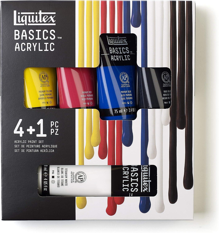 Liquitex BASICS 5 Tube Acrylic Paint Set, 4x75ml, 1x118ml
