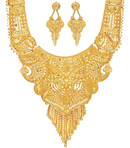 Mansiyaorange Party One Gram Gold Wax Forming Work Long Haram Golden  Necklace Set Jewellery for Women(9 INCH Long)